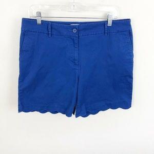 Talbots Scallop Edge Chino Shorts Blue Cotton 14